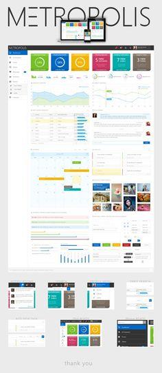 Metropolis Admin Dashboard by skirilov on DeviantArt Dashboard Examples, Analytics Dashboard, Dashboard Design, App Ui Design, User Interface Design, Site Design, Information Visualization, Data Visualization, Ui Kit