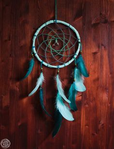 Dream Catcher  Oceansea No.5.  With Turquoise Frame by bohonest #dream #catcher #dreamcatcher #turquoise #blue #forhim #him #christmas #gift #bridal #bridesmaids #nursery #decor #decoration #home #tribal #colorful #vibrant #wonderful