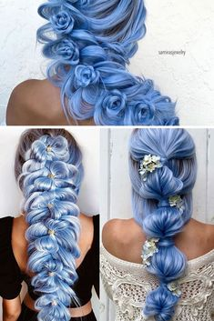 blue braid hairstyle, which one is your favourite? Down Hairstyles, Pretty Hairstyles, Girl Hairstyles, Braided Hairstyles, School Hairstyles, Updo Hairstyle, Braided Updo, Cute Hair Colors, Cool Hair Color