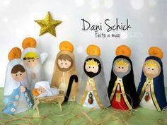 Presépio Nativity Ornaments, Nativity Crafts, Christmas Nativity, Felt Christmas, Christmas Crafts, Christmas Decorations, Christmas Ornaments, Nativity Scenes, Xmas