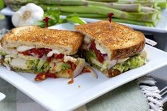 Asparagus Pesto Chicken Sandwich - Pesto from fresh asparagus, makes the perfect spread for a grilled chicken, and mozzarella sandwich. Sand-supreme!