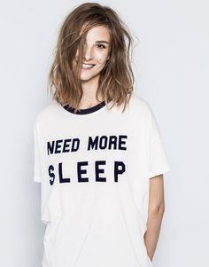Pull&Bear - woman - t-shirts and tops - printed t-shirt - ice - 09232340-I2014