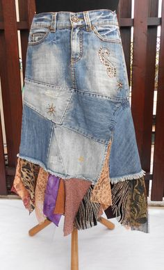 Long Boho skirt, torn tattered fairy, gypsy cowgirl skirt, rustic skirt  Eco-Friendly, Recycle Clothing for Women, Size S