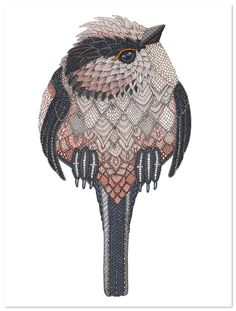 Highly patterned animal drawings offer a new perspective to your favorite creatures Long Tailed Tit 40x30