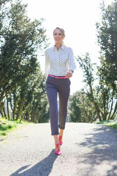Mary Orton wears Boden chinos, shirt and shoes. February 2015.