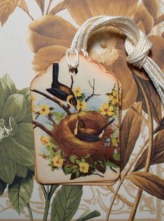 Tags Bird Nest Vintage Style Yellow Flowers Gift Tags by bljgraves, $4.00