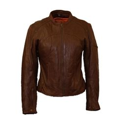 Women's Antique Brown Leather Touring Motorcycle Jacket - First Mfg Co.