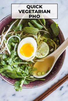 This healthy vegetarian pho with zucchini noodles is easy to make. The broth is infused with onions, ginger, star anise, cinnamon, cloves, and garlic. #vegetarian #paleo #glutenfree #pho