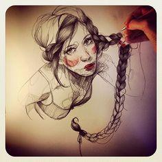 Pencil drawing by paula bonet Love Drawings, Drawing Sketches, Art Drawings, Drawing Ideas, Sketching, Art Et Illustration, Illustrations, Paula Bonet, Art Addiction
