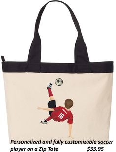 Order our tote bag with a personalized image of your child/grandchild/niece/nephew playing their favorite sport!
