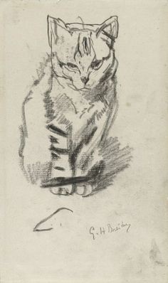 George Hendrik Breitner, Sitting Cat on ArtStack #george-hendrik-breitner-1857-1923 #art