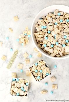 Make this yummy sweet chex mix and add colored candies to match your party colors