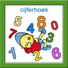 Hoekenkaart Cijferhoek Pompom I Love School, Math For Kids, Smurfs, Worksheets, Preschool, Letters, My Love, Fictional Characters, Pom Poms