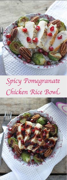 This Spicy Pomegranate Chicken Rice Bowl is a healthy dinner recipe that's done in only about 20 minutes! Dinner doesn't get much easier than that.