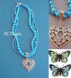 Colar azul turquesa com pendente  #ACBeads #Bijutaria #Artesanal