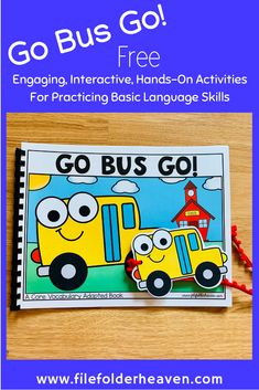 """This Back To School Free Core Vocabulary Words Adapted Book Set, is a fun and interactive way to work on the core word """"go,"""" and school themed vocabulary words. This set includes: 1 interactive adapted book: """"Go Bus Go!"""" 1 set of tracing cards (write an Vocabulary Activities, Speech Therapy Activities, Language Activities, Vocabulary Words, Motor Activities, Interactive Books For Preschoolers, Preschool Books, Preschool Themes, Speech Language Therapy"""