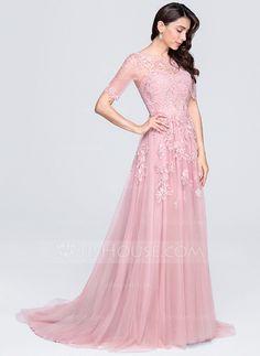 Corte A/Princesa Escote redondo Cola corte Tul Vestido de noche con Los appliques Encaje (017071574)