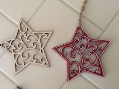 New quilled snowflakes for Christmas 2013 by Ashley Thometz (unfinished wood snowflake purchased at Michael's)