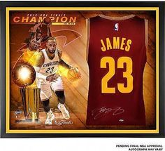 5fa986127aa7 LeBron James Cavaliers Framed Autographed Jersey w  Finals Collage - Upper  Deck  Basketball