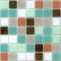 modwalls Brio Blend Palisades  mosaic vitreous glass tile blend: 16.7% of each of the following colors: Soft White, Gravel, Marina, Spearmint, Terra Cotta and Black Walnut.