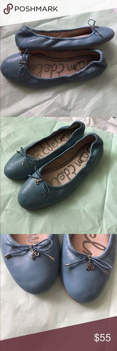 Sam Eldelman blue flats! Sam Edelman leather blue flats! Size 8! So chic and comfortable! Great leather with elastic back! Front has SE silver toned charms! Gently used condition! Robin egg blue is how I describe the color! Sam Edelman Shoes Flats & Loafers