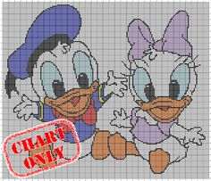 Donald & Daisy chart - perfect for crochet, knitting or cross stitch