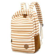 VLike Rucksäcke Rucksack Backpack Daypack Schulranzen Schulrucksack Wanderrucksack Schultasche Rucksack für Schülerin Mädchen (Apricot Streifen): Amazon.de: Koffer, Rucksäcke & Taschen
