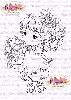 Digital Stamp Whimsical Jasmine Sprite Instant por AuroraWings
