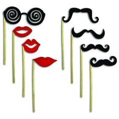 Fun Photo Booth Disguises On A Stick (One Dozen)