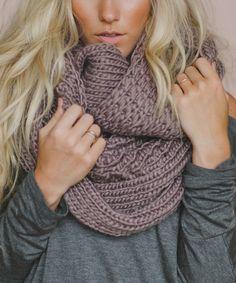Mocha Oversize Chunky Knit Infinity Scarf - Women | zulily