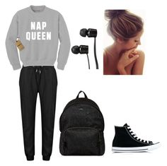 """By Kiran: Lazy in Style"" by marshmellow-rose ❤ liked on Polyvore featuring Converse, Hogan and Vans"