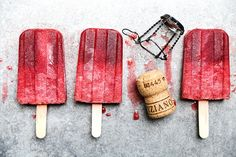 A recipe for boozy prosecco and raspberry popsicles with raspberry liqueur. These are a great adult treat for Summer!