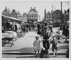 De Grote Markt in 1938 - Foto's SERC Rotterdam, My Images, Netherlands, Holland, Dutch, The Past, Louvre, Street View, History