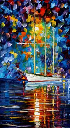 Leonid Afremov oil on canvas palette knife buy original paintings art famous artist biography official page online gallery large artwork sunset water boat sea scape pier dock night calm yachts harbor shore rest ship regatta sailer Boat Painting, Oil Painting On Canvas, Canvas Art, Acrylic Paintings, Painting Tips, Painting Art, Wall Art Canada, Art Watercolor, Palette Knife Painting