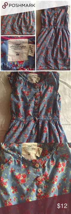 BLUE SLEEVELESS DRESS W/ RED ROSES SZ 9-10Y BLUE SLEEVELESS DRESS W/ RED ROSES SZ 9-10Y, I listed this as a size 8 because it runs a bit small. H&M Dresses Casual