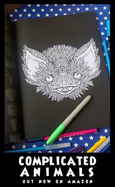 Bat - Image from Complicated Animals - A Mixed Menagerie Colouring Book - Illustrated by Antony Briggs - UK link: http://amzn.to/2aeY18T USA link: http://amzn.to/2aeXS5B