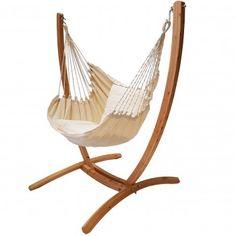 hangstoel katoen met houten standaard