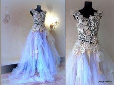 15% discount  #etsy shop: Lace Wedding Gown unique Bridal dress A line Low Back 3D flowers Victorian Shabby Bohemian Romantic Fairy irish Crochet lace Tulle Ball gown http://etsy.me/2hZkUm7 #weddings #clothing #weddingdress #white #beige #laceweddingg