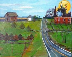 This painting is of a rural landscape and a small hamlet in the fall. This piece is on a #gallery wrapped canvas and the painting continues around the edges. It ...