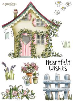 House, Country Style House, Cartoon Building, Flowers PNG Transparent Image and Clipart for Free Dow Grafic Design, Cartoon Building, Paper Art, Paper Crafts, Country Paintings, House Drawing, Garden Drawing, Illustration, Country Style Homes