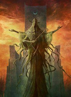 Dark Fantasy Art, Dark Art, Yellow Tattoo, Lovecraft Cthulhu, Hp Lovecraft, Modern Surrealism, Call Of Cthulhu, Image Painting, Futuristic Art