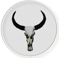 Instant download,Cross stitch pattern, PDF,vintage cow skull ,ZXXC0636