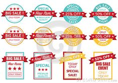 Sale price tag set vector round and rectangle text is outline version 10