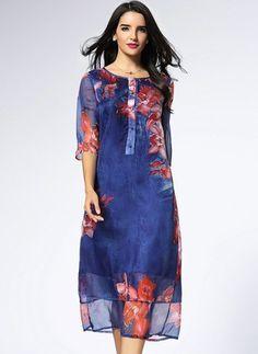 Silk Floral 1029100/1029100 Sleeves Mid-Calf Vintage Dresses (1029100) @ floryday.com