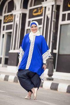 blue tunic hijab style, Naima Kamel Fancy designs http://www.justtrendygirls.com/naima-kamel-fancy-designs/
