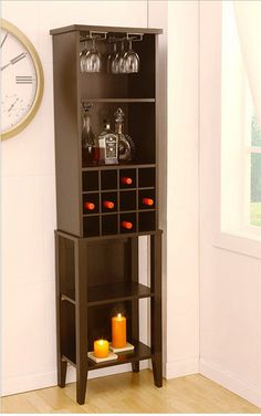 Wine towers are compact and fit in narrow spaces. Slip these in a tight spot and start storing your bar supplies.