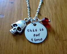 The Goonies movie Inspired Necklace. This is our time. Pirate, treasure. Hand stamped silver colored, Swarovski crystal & skull.
