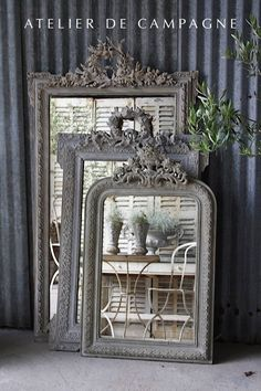 import of french antiques for home and garden, Mirror, Garden Elements, Chandeliers, Painted Furniture French Interior, French Decor, French Country Decorating, Old Mirrors, Vintage Mirrors, Mirror Mirror, Vintage Photo Frames, French Mirror, Gris Rose