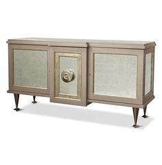 Streep Hollywood Regency Grey Silver Leaf Storage Cabinet