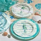 Tag 9 in. Melamine Salad Plates in Ocean Blue with Seahorses (Set of 4)-TAG205861 - The Home Depot